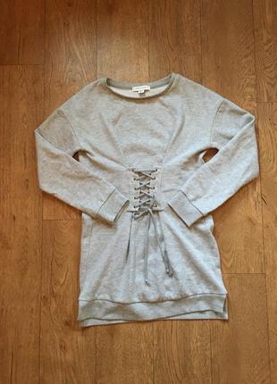 Стильное тёплое платье свитшот со шнуровкой на талии primark