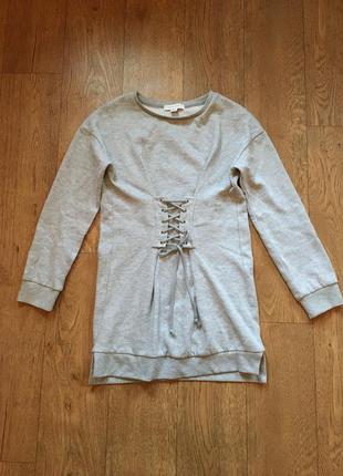 Стильное тёплое платье свитшот со шнуровкой на талии primark2 фото