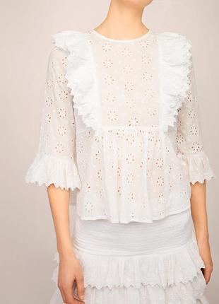Роскошная белая  блуза прошва/актуальная блуза  с оборками