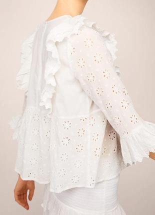 Роскошная белая  блуза прошва/актуальная блуза  с оборками2 фото