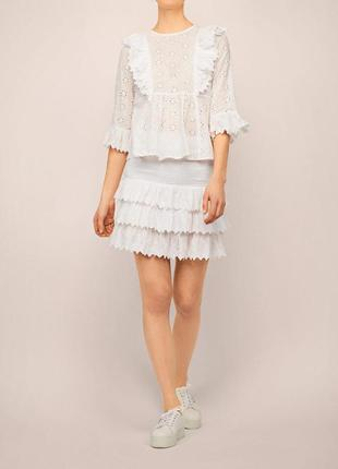 Роскошная белая  блуза прошва/актуальная блуза  с оборками3 фото
