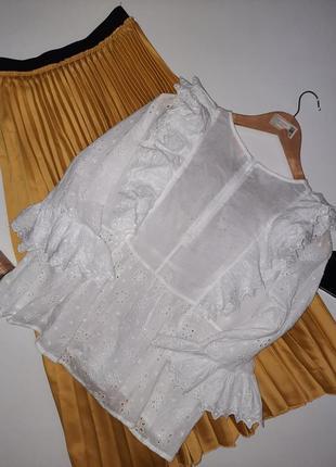 Роскошная белая  блуза прошва/актуальная блуза  с оборками4 фото