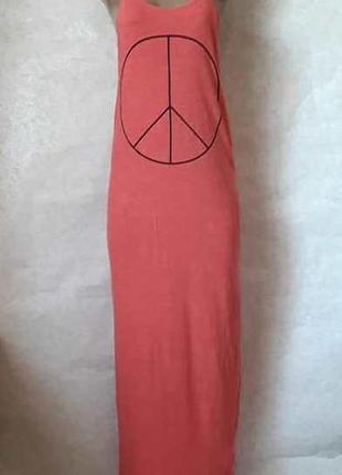 Фирменное h&m 100 % хлопковое платье в пол спортивного стиля кораллового цвета, размер с-м