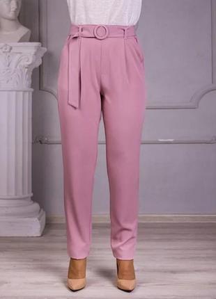 Льняные брюки свободного покроя (цвет-пудра)