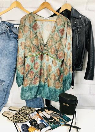 Блуза - рубашка оверсайз с глубоким v-образным вырезом1 фото