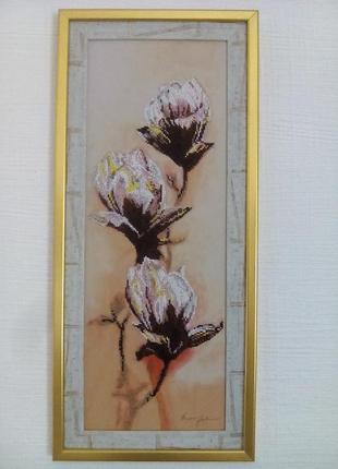 Вышивка бисером на шелковом принтованом холсте3 фото