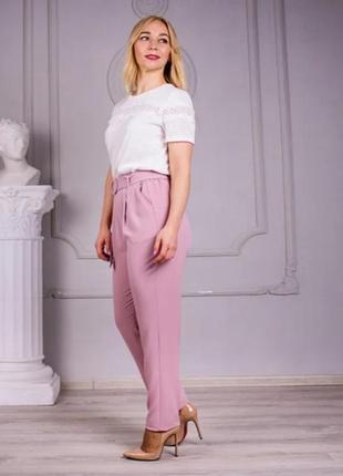 Льняные брюки свободного покроя (цвет-пудра)3 фото