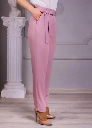 Льняные брюки свободного покроя (цвет-пудра)4 фото