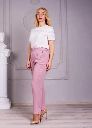 Льняные брюки свободного покроя (цвет-пудра)5 фото
