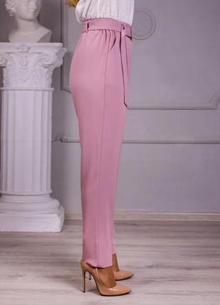 Льняные брюки свободного покроя (цвет-пудра)6 фото