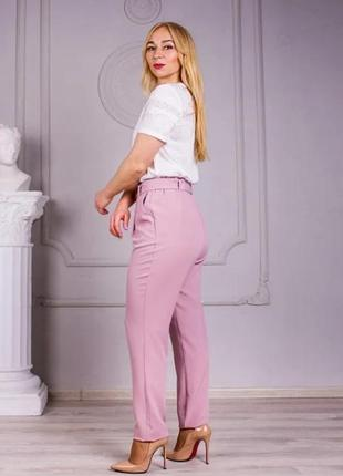 Льняные брюки свободного покроя (цвет-пудра)8 фото