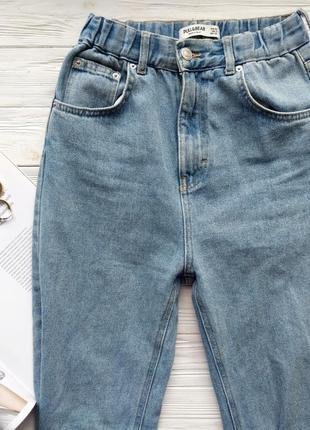 Голубые винтажные джинсы джинси мом мам mom fit pull&bear8 фото