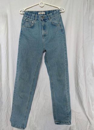 Голубые винтажные джинсы джинси мом мам mom fit pull&bear7 фото