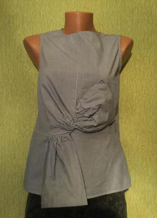 Блузка хлопковая в полоску с декоративным бантом next размер 6/82 фото