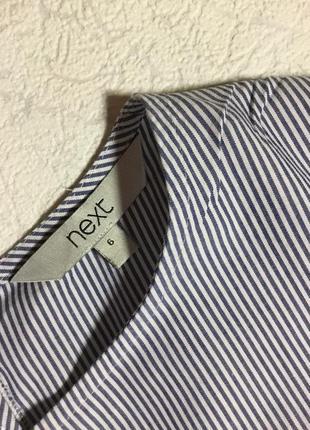 Блузка хлопковая в полоску с декоративным бантом next размер 6/85 фото