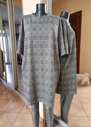 Комфортное в клетку платье 👗большого размера