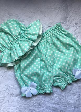 Комлект: блумеры, штанишки на памперс с панамкой, р.74