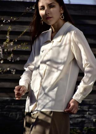 100% шёлк натуральная шелковая классическая нюдовая блуза блузка рубашка оверсайз