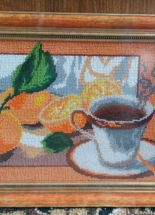 "Картина вышитая чешским бисером ""чашка чая"""