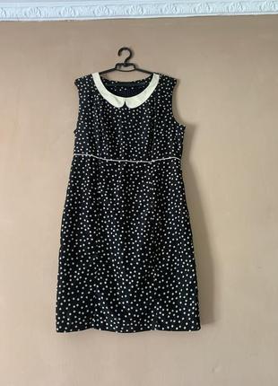 Платье чёрное в бежевый горошек размер 50 52