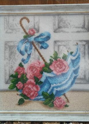 """Картина вышитая чешским бисером """"зонтик с розами"""""""