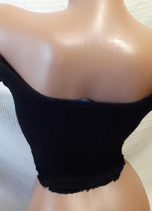 Кроп топ топик яркий короткий голые открытые плечи трикотажный  резинка трикотаж4 фото