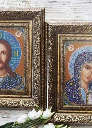 """Иконы бисером """"венчальные"""" (венчальная пара, спаситель и богородица)"""