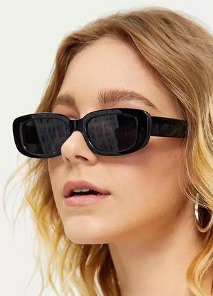 Очки квадратные прямоугольные пластик солцезащитные окуляри сонцезахисні большие черные