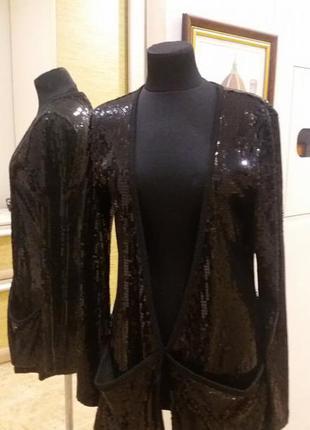 Новогодний кардиган жакет пиджак черн.паетки  moda international раз.38(пог  46)