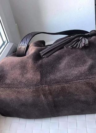Замшевая вместительная сумка f&f.2 фото