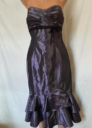 Сиреневое нарядное платье с открытыми плечами сша belsoie