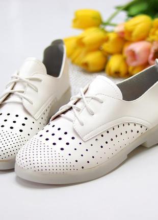 Женские кожаные белые  туфли лоферы с перфорацией6 фото