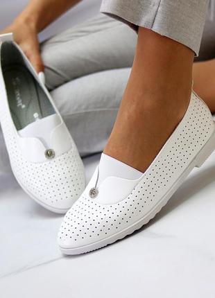 Женские кожаные белые туфли лоферы балетки с перфорацией3 фото