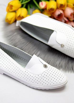 Женские кожаные белые туфли лоферы балетки с перфорацией7 фото