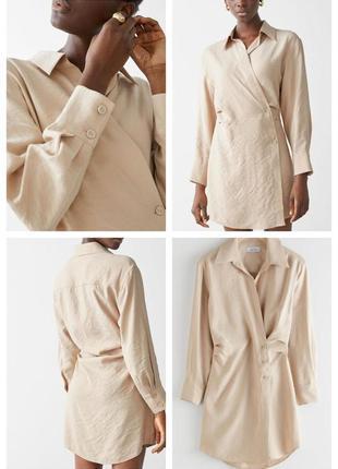 Вечернее коктейльное короткое мини бежевое платье рубашка ассиметричное с длинным рукавом3 фото