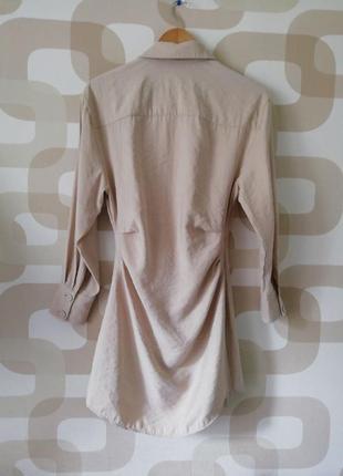 Вечернее коктейльное короткое мини бежевое платье рубашка ассиметричное с длинным рукавом8 фото
