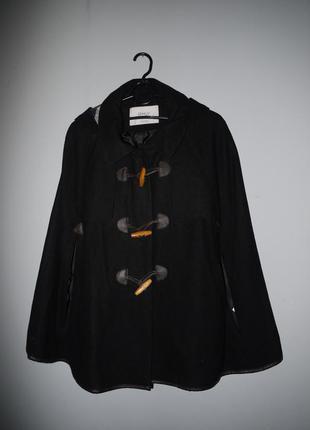 Пальто кэйп из шерсть . дафлкот с капюшоном . черный . новый ( сток)