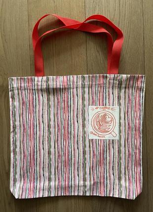 Эко сумка шоппер торба пляжная @don.bacon розовая полосатая чашка кофе латте арт