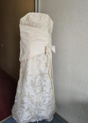 Платья на выпускной свадьба вечерние длинное фатин шелк цвет айвори корсет 💝