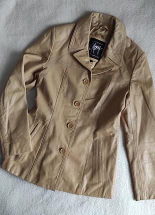 Трендовый натуральный кожаный пиджак куртка1 фото