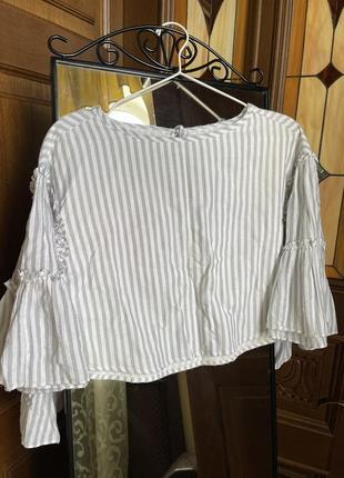 Укорочённая блуза с рукавами клёш edited6 фото
