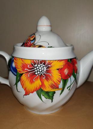 Чайник заварник новый цветы керамический