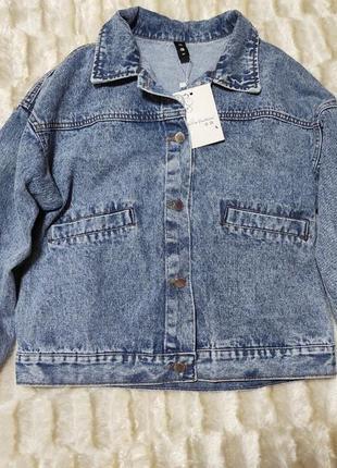 Новая джинсовка укороченная оверсайз спущенный плечевой шов