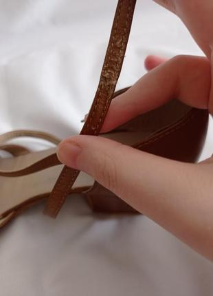Туфли для бальных танцев для девочек коричневые кожаные6 фото