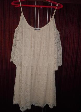 Обалденное кружевное платье с открытыми плечами 14-16р