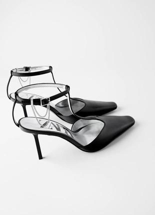Кожаные туфли на каблуке zara