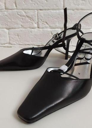 Кожаные туфли на каблуке zara9 фото