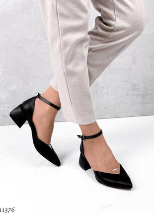 Туфли чёрные кожа4 фото