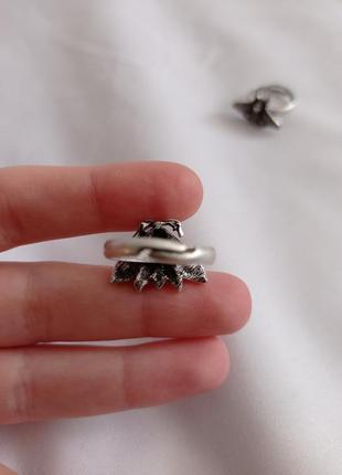 Серебрянное серебристое кольцо с бабочкой мотыльком с чернением2 фото