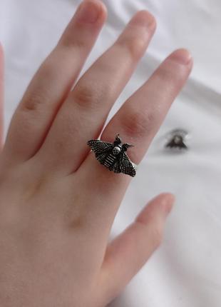Серебряное серебристое кольцо с бабочкой мотыльком с чернением1 фото